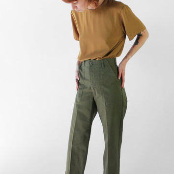 Vintage 70s Army Green Cropped Military High Rise Uniform Pants | 0/2