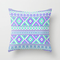 Tribal Art Creation Purple and Mint Throw Pillow by tjc555 | Society6