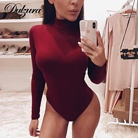 Dulzura long sleeve women bodysuit turtleneck sexy slid 2018 autumn winter female warm clothes slim fit fashion body suit