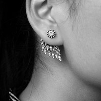 New Gothic Silver Color Cool Angel Wings Alloy Stud Earrings Cool Black Feather Earrings for Women Men Fashion Jewelry