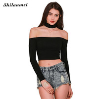 Choker Crop tops bustier off shoulder tops long sleeve t shirt women cropped longa mujer slash Neck Top for women clubwear tops
