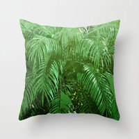 Jungle Palms 3 - Throw Pillow Cover, Green Palm Tree Fronds Accent, Tropical Beach Surf Style Home Decor. In 14x14 16x16 18x18 20x20 26x26