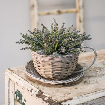 Willow Basket Cup and Saucer Planter