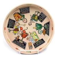 Vintage Masonware Alchohol Beverage Tray with 1950s Graphics and Drink Recipes