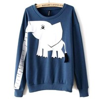 Adorable Elephant Trunk Arm Long Sleeve Round Neck Pullover Sweater for Women in Blue Green or Grey