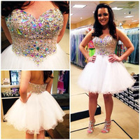 Short Cocktail prom gown Sweetheart Sleeveless Crystal and Beaded 2016 Mini homecoming dress Formal party gown