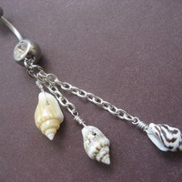 Real Seashell Belly Button Ring Dangly Sea Shell by Azeetadesigns