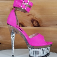 """Hot Pink Ankle Cuff 7"""" High Heel Silver Platform Shoe Hand Crafted USA Size 10"""