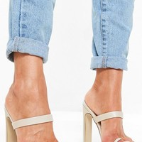 Missguided - Nude Toe Post Barely There Mules
