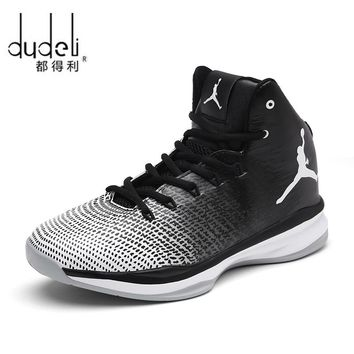 DUDELI Mens Brand Sneaker Shoes Men Cool Basketball High Top Shoes Men Quality Mens Sneakers For Basketball Sport