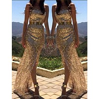 EAS 2016 New Arrival Long Prom Ball Gold Sequins Party Dress Sleeveless Sexy Dress