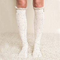 Rosewood Lace Socks in Oatmeal