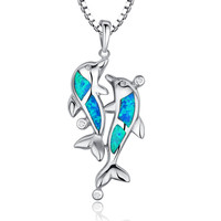 Sterling Silver Dolphins in Love W. Blue and Green Fire Opal Pendant Necklace