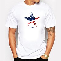 Mens American Flag Five-pointed Star T-shirt