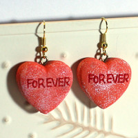 Valentine Heart Earrings - Repurposed Ornaments - Clay Earrings - Fashion Earrings - Conversation Heart - FOREVER Orange