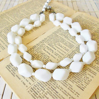 Miriam Haskell Signed Necklace Milk Glass Beads 1950's White Double Strand Vtg Bride Bridal Jewelry