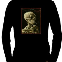 Skeleton Smoking Men's Long Sleeve T-Shirt Vincent Van Gogh Painting