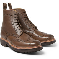 GrensonFred Textured-Leather Brogue Boots|MR PORTER