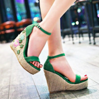 EMMA EMBROIDERED FLORAL WEDGE