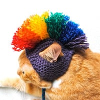 Cat Hat Costume - Purple and Rainbow Mohawk