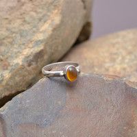 Small Sterling Silver Stacker Ring with Amber Colored Stone