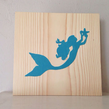 Customizable Mermaid Sign, Stained and Hand Painted, nautical/ beach decor, birthday gift, home decor, vacation house, summer decor