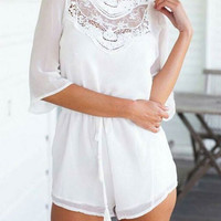 Summer Lace Stitching  Half Sleeve Open Back Rompers