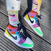 "Air Jordan 1 Mid SE ""Lightbulb"" color stitching sneakers basketball shoes"