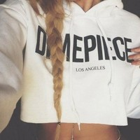 Sexy Women DMEPIECE Crop Hoodie Sweatshirt Jumper Sweater Pullover Tops Coat = 5658143361