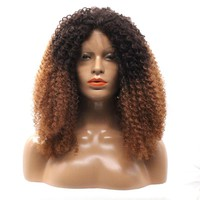 Ombre Black Blonde Kinky Curly Synthetic Hair Lace Front Wigs With Baby Hairs