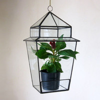 Terarium Street Lantern.Stained Glass Terrarium.Geometric glass