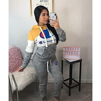 Champion Women Casual Multicolor Letter Pattern Print Long Sleeve Trousers Set Two-Piece