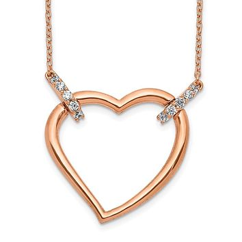 14k Rose Gold Real Diamond Heart 18 inch Necklace