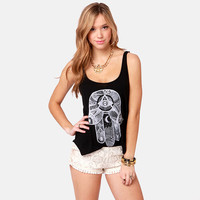 Black Hamsa Print Sleeveless Top