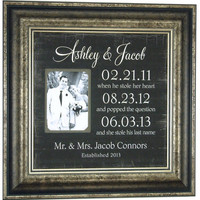 Mother of The Bride Gift, Parents Wedding Gift, IMPORTANT DATES, Personalized Picture Frame, Reception, Father of the Bride, 16 X 16