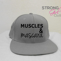 Workout Muscles & Mascara Hat. Snapback Workout Cap. Flat Bill Hat. Muscles and Mascara Cap. Retro Flat bill workout hat. Crossfit Hat.