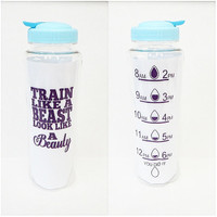 Personalized Coffee Cup * Train like a Beast Look Like A Beauty  * 33oz water bottle * Personalized Water Bottle * BPA free