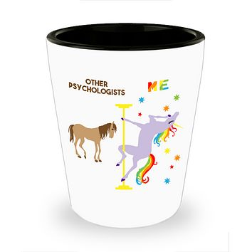 Funny Psychologist Gifts for Women and Men Pole Dancing Unicorn Rainbow Ceramic Shot Glass for Psychologists
