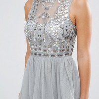 ASOS PETITE Mesh Prom Dress with Embellished Bodice at asos.com
