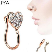 JYA Nostril Hoop Nose Ring Body Piercing Jewelry Nose Studs Lot Gold Septum Rose Gold Silver Heart Pentagram Silver Jewelry 2018