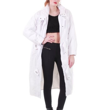 90s Vintage Long White Puffer Coat Oversized Minimalist Y2K Cyber Goth Thick Warm Insulated Winter Jacket Women Size Large / XL