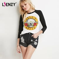 LIENZY Spring 2016 Guns And Roses Women T Shirt Long Black Sleeve Patchwork White Casual Rock T Shirt For Women Clothing