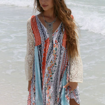 Restless Gypsy Orange Mixed Print With Lace Bell Sleeves
