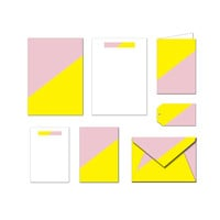 Printable Stationary Set - Yellow & Pink - Notes / Card / Gift Tag / Envelope
