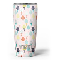 The All Over Pink Ice Cream Cone Pattern - Skin Decal Vinyl Wrap Kit compatible with the Yeti Rambler Cooler Tumbler Cups