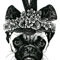 female pug dog flower hat original art print animal pets wall decor black White