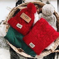 UGG Fashion Winter Knit Women Men Beanies Scarf &Cap Hat Two Piece Red