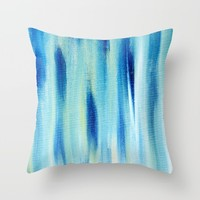 Beach Blues Absract Throw Pillow by Allyson Johnson | Society6