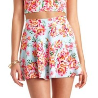High-Waisted Floral Print Skater Skirt by Charlotte Russe - Mint
