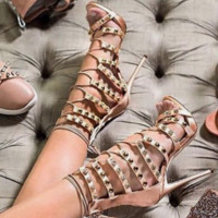 Hot-selling rhinestone strappy sandals with high heels